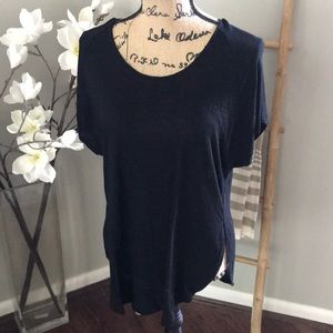 Madewell black side slit top